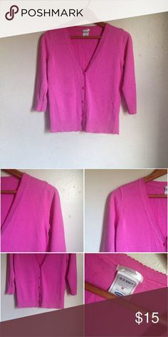 Old Navy Pink Scalloped V-Neck 3/4 Sleeve Cardigan Brand: Old Navy Size: Medium Color: Pink  Material: 100% Cotton  This item is pristine condition. It is 3/4 sleeves and features a ribbed, hem and cuff. The collar and along the button closure is a scalloped design. Features a five button closure with all buttons still fully intact. Old Navy Sweaters Cardigans