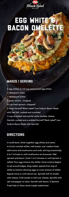 Egg White & Bacon Omelette   Black Label® Lower-Sodium Bacon Breakfast Items, Low Carb Breakfast, Breakfast Dishes, Breakfast Recipes, Gourmet Breakfast, Bacon Breakfast, Crockpot Recipes, Cooking Recipes, Healthy Recipes