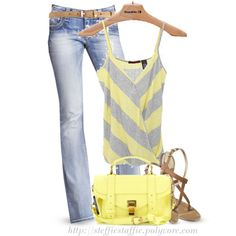 Yellow & Gray Striped tank, created by steffiestaffie on Polyvore