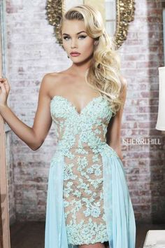 Light blue and nude prom dress