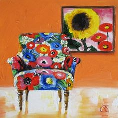 spring forward floral chair, painting by artist Kimberly Applegate