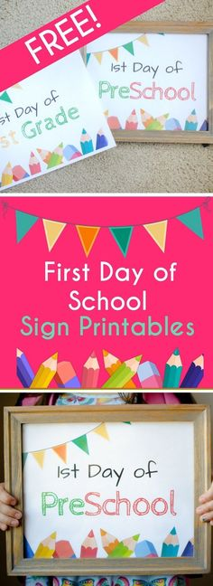 First Day of School Sign Printables - For Grade School - Back to School Photo Prop - #backtoschool #printable #kids