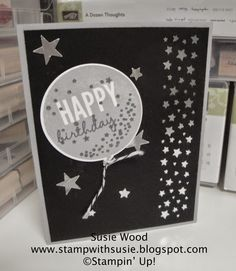 Stampin' Up!- An awesome balloon card using 'Celebrate Today' & the coordinating framelits.  This is a modified case from Raedean Shibata.