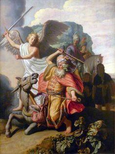 Balaam and the Ass. Balaam y el asno. Rembrandt. 1626. Oil on panel. 63.2 X 46.5 cm. Musée Cognacq-Jay. Paris.