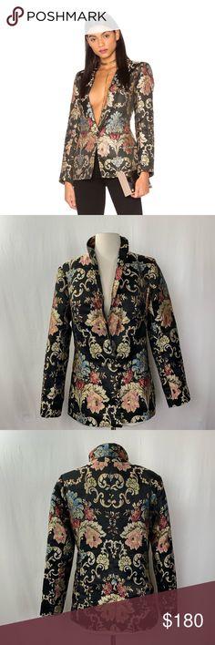 95865785ecbc LPA Jacket Small Jacquard Blazer Floral Black