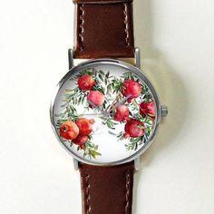 Pomegranate Fruit Watch Women Watches Leather Unique Jewelry Accessories Handmade Boyfriend Gift Idea Spring Unique Custom Ladies Plant http://amzn.to/2BebDdp