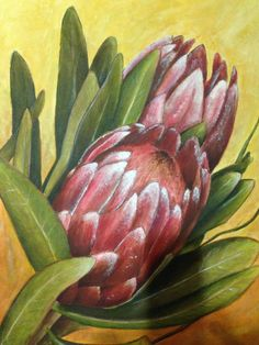Acrylic Flowers, Abstract Flowers, Watercolor Flowers, Painting Flowers, Watercolor Art, Protea Art, Protea Flower, Beginner Painting, Diy Painting