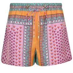 Diane Von Furstenberg Liri Shorts ($155) ❤ liked on Polyvore featuring shorts, multi, diane von furstenberg shorts, summer shorts, patterned shorts, print shorts and elastic shorts