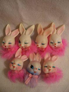 7 Vintage Plastic Rabbit Fur Easter Bunny Floral Craft Pick Tops Only Japan | eBay