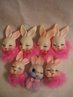 7 Vintage Plastic Rabbit Fur Easter Bunny Floral Craft Pick Tops Only Japan | eBay