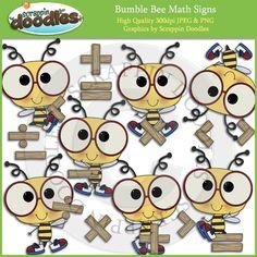 Bumble Bee Math Signs Clip Art