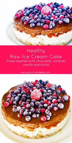 This healthy raw ice cream cake will become your favorite ice cream cake ever! It is triple-layered, and has it all: chocolate, vanilla, berries and caramel! | gourmandelle.com | #cakes #icecream #raw