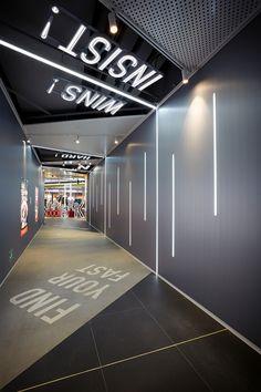 宁波万象汇 on Behance Washroom Design, Toilet Design, Interior Lighting, Lighting Design, Lighting Ideas, Floor Graphics, Kids Cafe, Corridor Design, Retail Interior Design