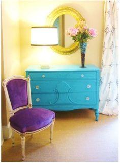 color combo for a girl's room (purple, aqua, yellow)