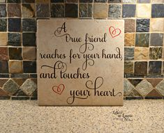 12x12 A true friend teaches for your hand and touches your heart, Girlfriend Gift, Friendship Gift, Going Away Gift, Gift for friend - pinned by pin4etsy.com