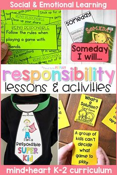 Teach children about responsibility, goal setting, conflict resolution, and anti-bullying in the classroom with these social emotional learning lessons and hands-on activities for kids. Children will build social skills with picture books and writing lessons, responsibility games, role playing, and more. #socialemotionlearning #classroommanagement #charactereducation #responsibilityactivities #teachingresponsibility