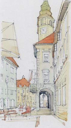 Ljubljana City Centre, Slovenia Architectural Illustration, Watercolour Sketch www.nickhirst.co.uk