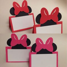 10 Minnie Mouse place cards/ name cards/ food labels/ Blank cards