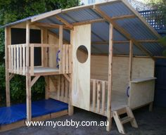 A large, fun cubby with sand pit. Just waiting for a slide to be installed. Cubby House Kits, Cubby Houses, Play Houses, Backyard Play, Outdoor Play, Outdoor Decor, Kids House Garden, Sand Pit, Inspiration For Kids