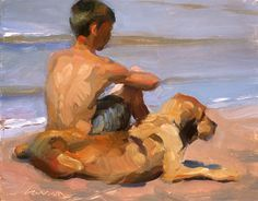 Jeffrey T. Larson - Fine Artist - - Jeff Larson A Boy and His Dog 8 x 10 inches oil on panel Paintings I Love, Dog Paintings, Figure Painting, Painting & Drawing, Gay Art, Art Plastique, Art Oil, Figurative Art, Watercolor Art
