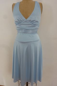 Vintage Frederick's of Hollywood Halter Dress Ice Blue Silky Poly Knit Made in USA Size M 1980s by ZoomVintage on Etsy