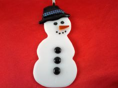 Snowman Christmas Ornament Fused Glass Snowman by AngelasArtGlass