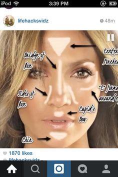 Retrodivas Beauty – How to highlight your face using a luminizer or highlighter make up Kiss Makeup, Contour Makeup, Eye Makeup, Hair Makeup, Highlighter Makeup, Beauty Make-up, Beauty Secrets, Beauty Hacks, Hair Beauty