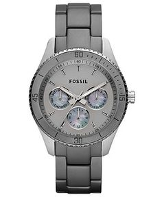 Fossil Watch, Women's Chronograph Stella Ash Gray Stainless Steel and Aluminum Bracelet 37mm ES3040