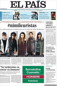 """Duro-Durísimo-Duro. Los #Nimileuristas llegaron a la portada de """"El país"""" de Españap. Domingo 11 de marzo de 2012."""