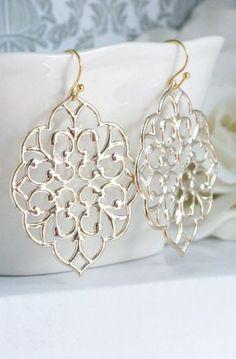 Romantic Large Moroccan Gold Filigree Earrings