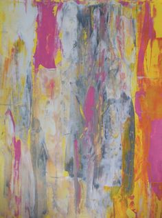 Acrylic Abstract Art Painting Grey, Yellow, Pink and White by T30Gallery