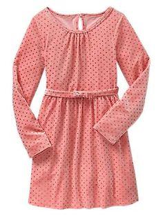 Softest Pink Glitter dot velvet dress | Gap