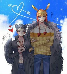 Corazon, Law, cute, bunny, rabbit, wolf, heart, text, blushing; One Piece