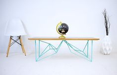 The Yoshi, Modern Walnut Coffee Table, Geometric steel base, Midcentury Modern Cocktail Table, Turquoise, Pink, Mint, White, Seafood