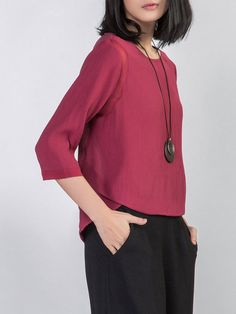 Shop Blouses - Wine Red Paneled Silk Plain Casual Blouse online. Discover unique designers fashion at StyleWe.com.