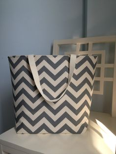 Canvas Beach Bag  Chevron Grey by ImperialCreations on Etsy, $25.00