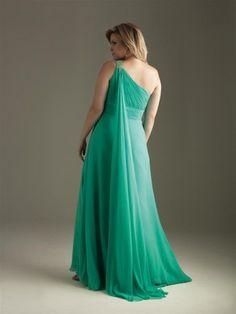2012 Style A-line One Shoulder Beading Sleeveless Floor-length Chiffon Hunter Prom Dress / Evening Dress