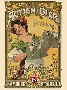 Actien-Bier-Lager-Hamburg-Beer-Brauerei-Germany-Vintage-Poster-Repro-FREE-S-H