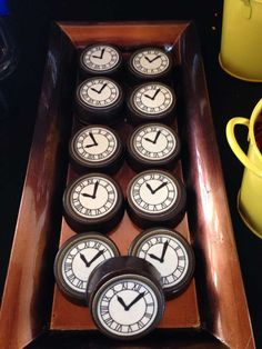 Cool clock cookies at a Back to the Future birthday party! See more party planning ideas at CatchMyParty.com!