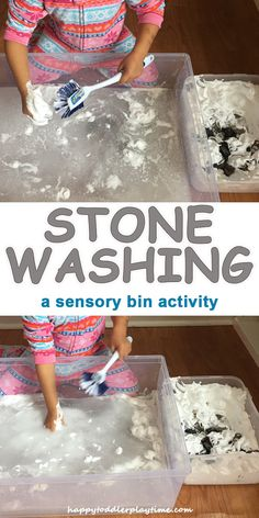 More fun than actual spring cleaning, this simple to set up sensory bin lets preschoolers explore shaving cream and water.