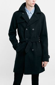 577fbc9cab32 Topman Wool Blend Double Breasted Trench Coat available at  Nordstrom Mens  Wool Coats