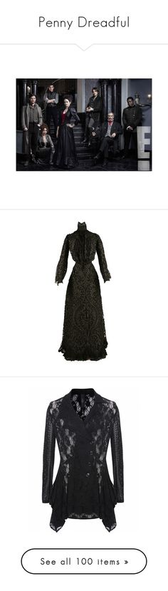 """""""Penny Dreadful"""" by alysianfields ❤ liked on Polyvore featuring dresses, long dresses, gowns, historical, outerwear, jackets, tops, collar jacket, lapel jacket and structure jacket"""
