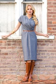 Chambray Wrap Front Myra Dress from the Timbers and Twine Collection by Shabby Apple