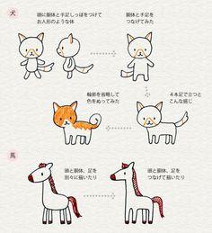 Gradi Deformazione di diverse illustrazioni di animali