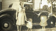 the little girl seems to be looking directly at the apparition.