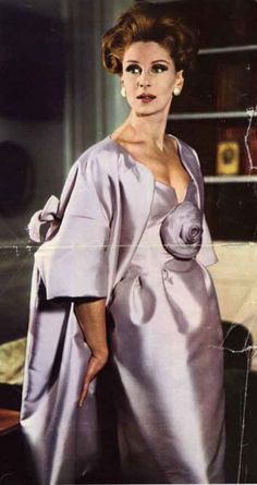 1960s ELEGANT Lanvin Castillo Evening Dress and Coat Pattern VOGUE Paris 1082  Almost Off Shoulders Cocktail Party Dress Full Coat Bust 31 Vintage Sewing Pattern FACTORY FOLDED +Label