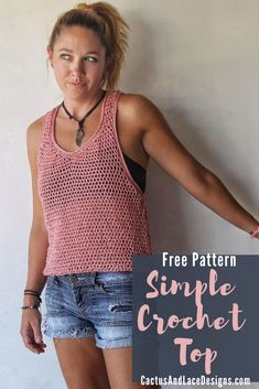 Crochet Tank Tops, Crochet Summer Tops, Crochet Blouse, Easy Crochet, Knit Crochet, Summer Sweaters, Crochet Fashion, Crotchet, Crochet Clothes