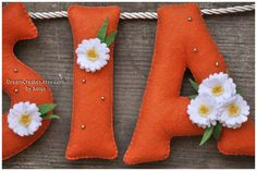 Felt name banner Orange Daisy nursery decor by DreamCreates