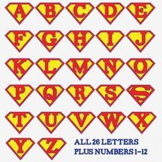 For a banner! Superman alphabet letters and numbers - make a super hero birthday party banner, front door decoration, birthday iron-on t-shirt, whatever you wish! Superhero Classroom, Superhero Party, Classroom Door, Superhero Writing, Superhero Letters, Superhero Clipart, Superhero Ideas, Superhero Logos, Classroom Ideas