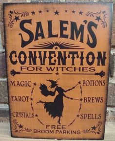 Salem's convention for witches wood primitive witch sign Primitives Wiccan Halloween decoration coven magic witchcraft tarot wicked witch by SleepyHollowPrims, $24.30 USD